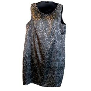 Silver & black lace pattern brocade dress size 22